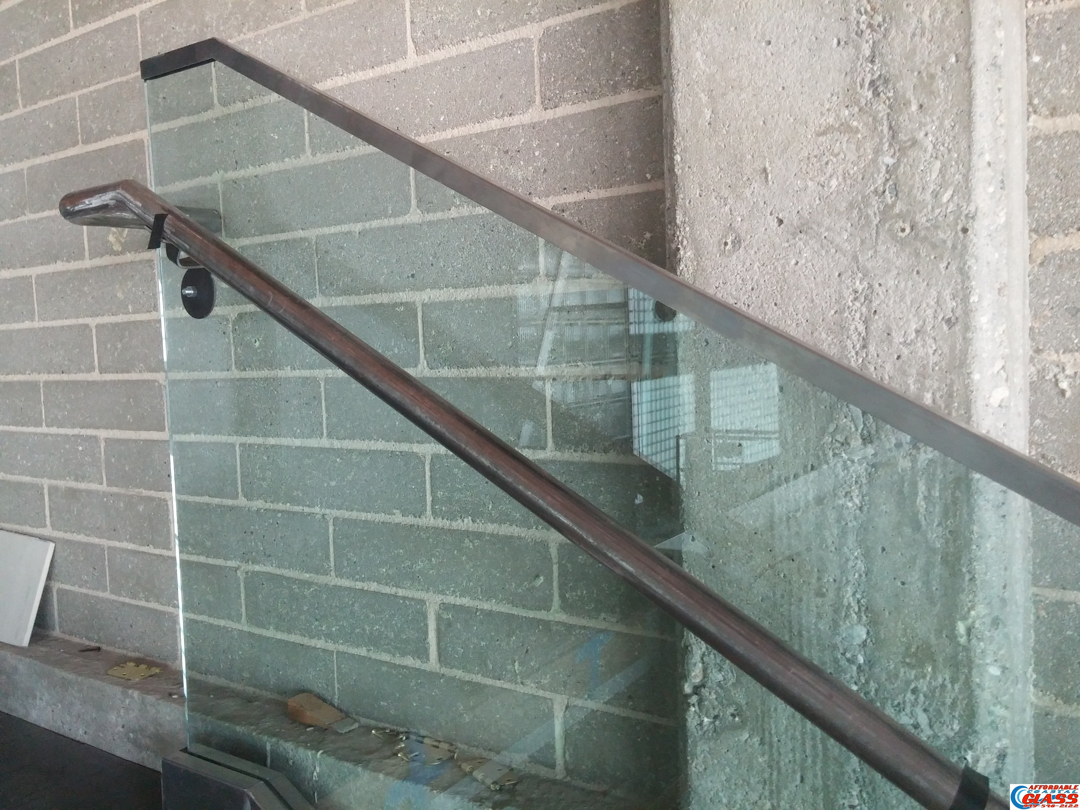 Glass Railing Staircase Detail Of Handrail